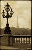 Laternenpfahl auf der Brücke von Alexandre III Stockbild