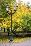 Laternenpfahl im Park im Herbst Lizenzfreies Stockbild
