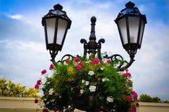 Laternenpfahl und Blumen Stockbilder