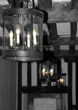 Laterns. Black & white shot of lanterns with bulbs highlighted Stock Photo