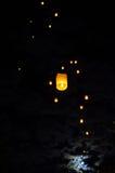 Laterns e luna nel cielo Fotografie Stock Libere da Diritti