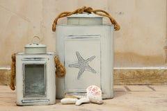 Laterns grises de la vela Foto de archivo libre de regalías