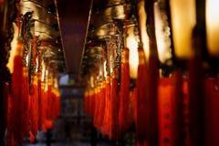 Laterns op een rij bij Mensenmo tempel, Hong Kong, Azië stock afbeelding