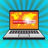 Latest breaking news computer screen announcement stock photography