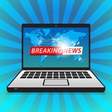 Latest breaking news computer screen announcement stock images