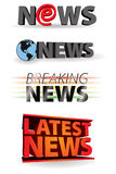 Latest Breaking News. A word icon set of news words, with latest, breaking, world and e-news logos vector illustration