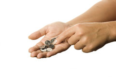 Latest Coins. Coins on the palm on a white background Royalty Free Stock Photos