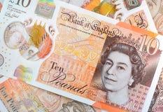 New UK Ten Pound Notes Royalty Free Stock Photos