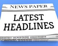 Latest Headlines Shows Recent Newspapers 3d Rendering. Latest Headlines Newspaper Shows Recent Newspapers 3d Rendering vector illustration