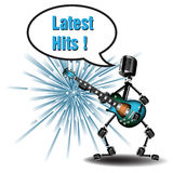 Latest hits. Abstract colorful background with a performer made from microphones and playing at the guitar the latest hits Royalty Free Stock Image