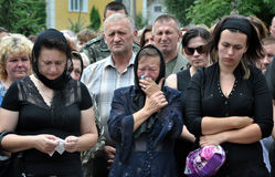 The latest honor Gulko Oleg_3. Chortkiv - Ternopil - Ukraine - July 9, 2014. The city Chortkiv say goodbye to fallen volunteer in ATO Gulko Oleg body of the royalty free stock photography