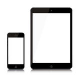 Latest iPad Air and iPhone 5 mini. Illustration of the New iPhone 5 (left) and New iPad AIR 4 (right) with blank white screen on a reflective surface. Apple has vector illustration