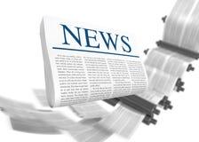 Latest News. Media concepts-print media. 3D image royalty free illustration