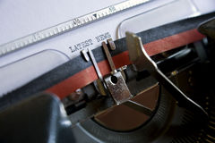 Latest news. Written on a vintage typewriter royalty free stock photography