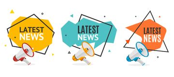 Latest News Banner Abstract Design Set. Vector. Latest News Banner Abstract Design Set with Geometric Origami Bubble Speech and Realistic 3d Detailed Megaphone royalty free illustration