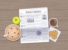 Latest news at breakfast. Daily Newspaper in the morning on a wooden table. Articles, headings. Vector illustration. Top view stock illustration