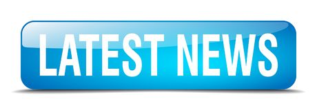 Latest news button. Latest news square 3d realistic isolated glass web button. latest news Royalty Free Stock Images