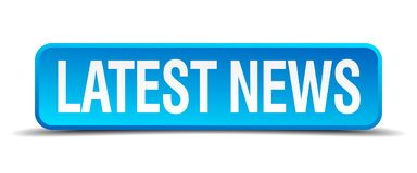 Latest news button. Latest news square 3d realistic isolated web button. latest news Stock Images