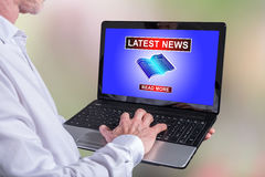 Latest news concept on a laptop Royalty Free Stock Images