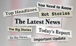 The Latest News Headlines Information Updates. 3d Illustration Stock Image