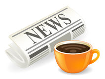Latest News icon. Newspaper and coffee on white background Stock Photos