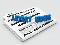 Latest news logo. On newspaper - digital artwork Royalty Free Stock Images
