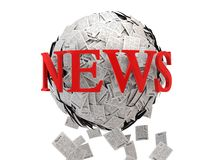 Latest News sphere. Media concepts-print media. 3D image Stock Illustration