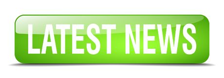 Latest news button. Latest news square 3d realistic isolated glass web button. latest news Royalty Free Stock Photo