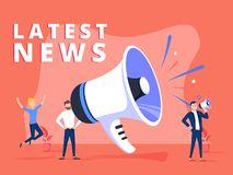 Latest news vector illustration concept, people shout on megaphone with Latest News word, can use for landing page vector illustration