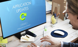 Latest Version Fresh Updates Application Updates Concept. Business Man Using Computer Application Latest Version Fresh Updates Application Updates royalty free stock images
