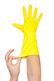 Latex Glove For Cleaning on hand Stock Photos