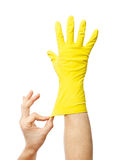 Latex Glove For Cleaning on hand Royalty Free Stock Photo