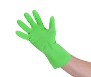 Latex glove for cleaning on hand Royalty Free Stock Photography