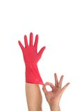 Latex Glove For Cleaning on hand. Royalty Free Stock Photo