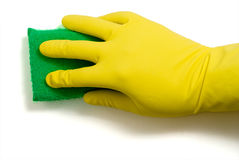 Latex Glove and Sponge Royalty Free Stock Image