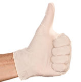 Latex Glove Thumbs Up. A thumbs up with a white latex glove Stock Photography