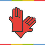 Latex gloves color icon. Rubber arms in red. Royalty Free Stock Images
