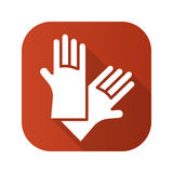 Latex gloves flat design long shadow icon. Stock Photography