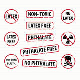 Latex and Phthalate free stamps set Stock Photos