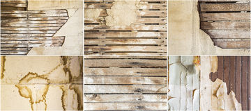 Lath plaster wall old weathered stained background collage Royalty Free Stock Image