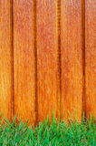 Lath wooden fence and green grass Royalty Free Stock Photography