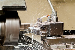 Lathe. Is cutting metal; High speed cut Royalty Free Stock Image
