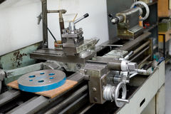 Lathe. A metalworking lathe in a workshop royalty free stock photos