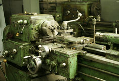 Lathe. Old lathe is in a repair shop Stock Photos