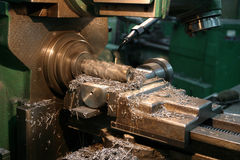 Lathe. A lathe in a working process stock photos
