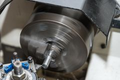 Lathe in action royalty free stock photos