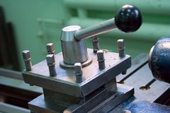 Lathe carriage closeup Royalty Free Stock Photography