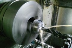 Lathe, cnc, machining. soft focus stock image