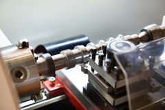 Lathe with cutters and workpiece Royalty Free Stock Photo