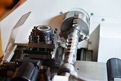 Lathe with cutters and workpiece Stock Image